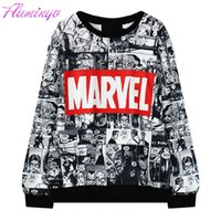 Wholesale Marvel Sweatshirt Top - Women Marvel Letter Sweatshirt Hoodie Tracksuit Harajuku Adventure Time Black Streetwear EXO Kpop BTS Anime Felpe Donna Tops