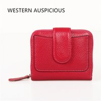 Wholesale Western Purses Wallets - Wholesale- WESTERN AUSPICIOUS Women Wallets Zipper And Hasp Cow Leather Female Purse Large Capacity Billetera
