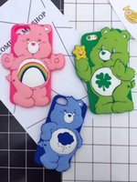 Wholesale Iphone Love Flower Case - 3D Bear Soft Silicone Case For Iphone 7 Plus 6 6S 6Plus Rainbow Heart Love Rubber Lovely Flower Cute Cartoon Gel Back Cover Skin+Strap