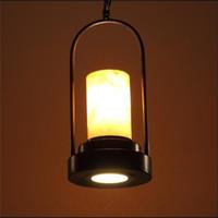 lampes de marbre vintage achat en gros de-Vintage style country américain abat-jour en marbre en forme de bougie industrielle corde suspendue suspendue à la lampe E27 Loft Lamp