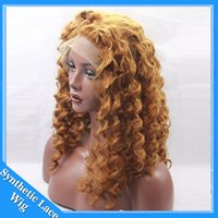 Top Blonde Afro Kinky Curly Sintético Lace Front Wig Barato kinky cabelo com pernas curvas perucas dianteiras 1b # 1 # 2 # 4 # 6 # 30 # 27 # 33 # Frete grátis Cosplay Wigs
