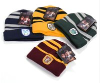 Harry Potter Beanie Gryffindor Slytherin Cappellini Caps Hufflepuff Cappottino Cosplay Ravenclaw Cappellini Striped Cappellini di moda invernali WD442