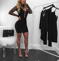 Wholesale Tight Transparent Dress Sexy Women - Woman Sexy Nightclub Dress 2017 Summer Woman New Fashion Tight V Neck Transparent Mesh Long Sleeve Bodycon Dress After The Zipper