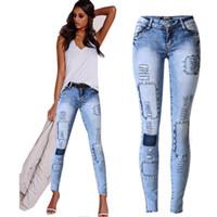 Wholesale patchwork womens denim jeans - Wholesale- 2017 Womens Jeans Stretch Denim Pants Slim Multi-hole Patch Tide Jean Trousers Skinny Low Waist Blue Pencil Jean Pants