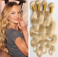 Wholesale Double Drawn Body Wave - Body Wave Hair Weaves Brazilian Malaysian Peruvian Indian European Virgin Human Hair Blond Color Hair Bundles Double Drawn Weft 3pcs Lot