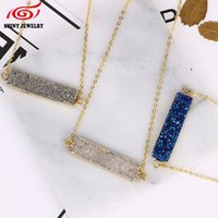 Wholesale Necklace Gold Rectangles - Wholesale- Bar Natural Stone Blue Purple Quartz Druzy Crystal Necklace Agate Rectangle Pendant Gold Plated Chain Necklace Christmas Gift