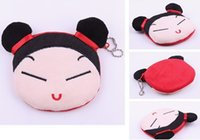 Vente en gros - Pucca China Girl Cartoon 10CM Pendentif en coton en peluche pour le maquillage BAG Holder Pouch Handbag - Coin Purse Wallet Pouch Case BAG