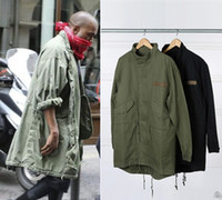 Wholesale Military Style Jacket Men Green - Hot Sale New Men's Hop Hop Jacket Overcoat Windbreaker Kanye West Black Green Long Military Style European Trench Coat Men