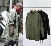 erkekler için siyah askeri ceketler toptan satış-Sıcak Satış Yeni erkek Hop Hop Ceket Palto Rüzgarlık Kanye West Siyah / Yeşil Uzun Askeri Stil Avrupa Trençkot Erkekler