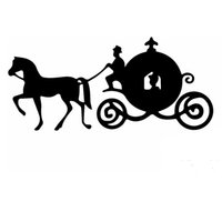 Wholesale Head Carriage - Wholesale 10pcs lot Cinderella Fairy Tale Beauty Sitting Pretty Carriage Car Sticker for Bumper Motorcycles Canoe Car Styling Vinyl Decal