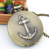 Wholesale-Fashion Bronze The Rudder Ancres Roman Numeral Dial Quartz Pocket Watch Analog Pendentif Collier Mens Womens Watches Chain Gift