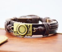 Wholesale Camera Charms Jewelry - Cool PUNK Jewelry Bronze Alloy Digital Camera Leather Bracelet Men Casual personality Bracelet Vintage the Rock Bracelet Women Holiday