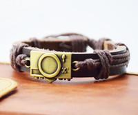 Wholesale Vintage Camera Jewelry - Cool PUNK Jewelry Bronze Alloy Digital Camera Leather Bracelet Men Casual personality Bracelet Vintage the Rock Bracelet Women Holiday