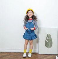 Wholesale Kids Denim Cowboy Vest Wholesale - Kids Denim dresses girls princess suspender Double-pockets falbala Hem dress children vest cowboy dress 2017 new Girls dress G0572