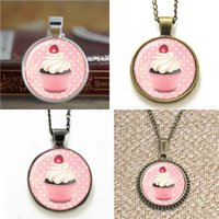 Wholesale Small Cupcake - 10pcs Cupcake small iced cakes cute Cupcake Necklace keyring bookmark cufflink earring bracelet
