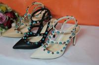 Wholesale women wedding shoes stones - women flat dress shoes fashion sexy pointed toe shoes stone buckle platform pumps wedding shoes black white tan color