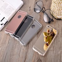 Wholesale Iphone 4s Tpu Black - Luxury Plating Mirror Soft TPU Silicon Case For Iphone 7 6 6S Plus 5 5S 4 4s Back Cover Phone Bag Cases