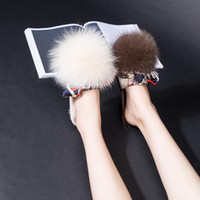 Wholesale Comfortable Wedges Sandal - New 2017 Shoes Women Hair ball Sandals Fashion Flip Flops Summer Style Chains Flats Solid Slippers comfortable ladies Sandal adc2123