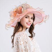 sombreros de iglesia naranja al por mayor-1 UNID Elegante rosa naranja gasa fina sombrero de ala grande fiesta de la iglesia sombreros de la boda sombrero de la manera sombreros del sol