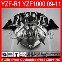 Wholesale yamaha yzf r1 fairings resale online - gloss grey gifts Body For YAMAHA YZFR1 YZF R1 NO58 YZF YZF R YZF1000 YZF R1 TOP grey black Fairing