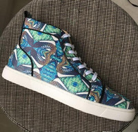 sapatos genuínos pesca venda por atacado-2020 Luxury Designer Mens High Top Paisley Impresso Peixe escala do padrão de sapatos azuis de couro genuíno de Mulheres Casual Shoes