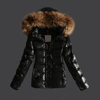 Wholesale Cheap Woolen Coats Women - Women Jackets Glossy Parka Duck Down Coats Female Clothes Real Raccoon Fur Collar Hood Short Brand Jacket Cheap