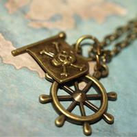 karibische halsketten großhandel-20pcs Piraten der Karibik, Captain Hook, Piratenflagge Schiffe Rad Bronze Charms Halskette