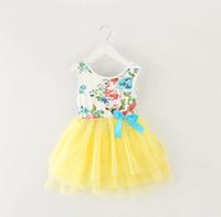 Wholesale Tutu Floral Short - Girls summer 2017 new Korean girls floral gauze dress princess dress children dress