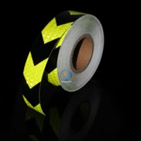 Wholesale Reflective Arrow Stickers - 5cm*500cm Motorcycle decoration Reflective Strips Glue Stickers For Automobiles Arrow lime green&black wholesale reflective strips