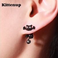Wholesale Earrings For Pierced Ears - Kittenup New Fashion Cat earring cute Black Kitten Jewelry Piercing Ear Stud Earrings for Women Femme
