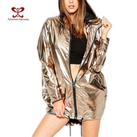 Wholesale Jacket Hood For Women - Wholesale- A FOREVER 2017 New Arrival Punk Style Metallic Gold Women Jackets Zipper Hooded Outwear Coats for Women Jacket with a Hood M071