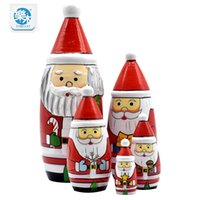 Atacado - Brinquedos de madeira 5pcs Matryoshka Doll Christmas Santa Wooden Russian Nesting Dolls Gift Matreshka Handmade Crafts for Christmas
