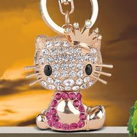 Wholesale Cute Cat Keychains - Luxurious Accessries Car Keychains For Women's Cute Cat Animal Pendants Gem Crystal Metal Key Chains Good Quality Wholesale