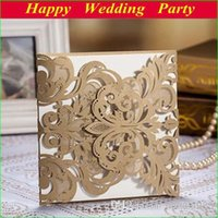 Wholesale Brown Wedding Invitation Cards - High Class Wedding Invitation Card Laser-cut Flower Brown Personalized Wedding Invites Wedding Favor New Arrival Free Shipping