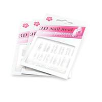 3d weiße nägel großhandel-Nail Art Dekorationen 3D Nail Seal 30 Sets Silber + Weiße Blumendekor Nail Sticke A 01-30