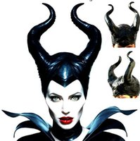 Wholesale Gothic Headdress - Halloween Evil Witch Maleficent Gothic Horn Cosplay Fancy Dress Hats Mask Costume COS Black Soft PVC Headdress Cap helmet Party Favors