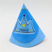 party liefert kronen großhandel-Großhandels-Jungenmädchen-Baby scherzt Geburtstagsfeier-Dekoration blaue Kronenpapierhütekinderfestival-Themaversorgungen caps6pcs / lot
