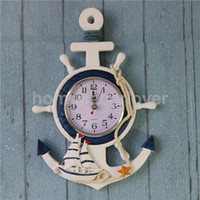 Wholesale Nautical Wheels - Wholesale-Anchor Clock Beach Sea Theme Nautical Ship Wheel Rudder Steering Wheel Starfish Decor Wall Hanging Decoration
