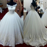 Wholesale Real Photo Ball Gown Wedding Dresses Off Shoulder Short Sleeve Appliques Lace Tulle Bridal Gowns Custom Size
