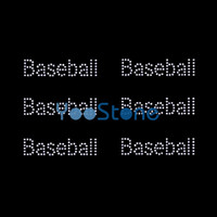 Palabra Baseball Rhinestone Iron On Transfers Hot Fix Motif Designs Venta caliente
