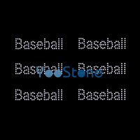 Word Baseball Rhinestone Iron On Transfers Горячие Fix Motif Designs Горячие продажи