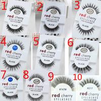 Wholesale Long Feather Eyelashes - Factory direct export red cherry handmade Natural false eyelashes Beauty Sale Makeup Long Fake Eye Lashes