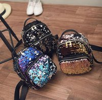 Wholesale School Bags Girls Princess - New Arrival Women All-match Bag PU Leather Sequins Backpack Girls Small Travel Princess Bling Backpacks school bags ZD215