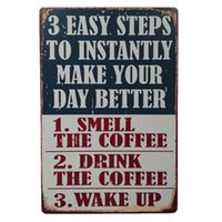 Wholesale Vintage Up Signs - Drink Coffee Wake Up Vintage sign home Bar Pub Hotel Restaurant Coffee Shop home Decorative Retro Metal Poster Tin Sign