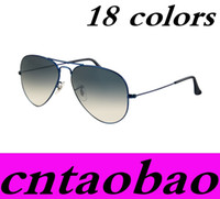 Sports Woman Waterproof 18 colors HOT Brand Designer Sunglasses Classic Pilot Style Driving Coating Sunglasses UV Protection Metal Frame Flash Mirror Fast Ship