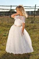 Wholesale Miniature Shorts - Lace Flower Girl Dress 2017 Louise with Short Sleeves & Bow Sash 1st Communion Dress for Little Girls Ball Gown Miniature Wedding Dress