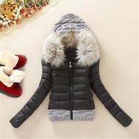 Wholesale women short wool jacket - Winter Jacket Women 2016 Short Jacket Female Cotton Wool Stitching Women's Down Jacket Fur Collar Winter Coat Plus Size DM857