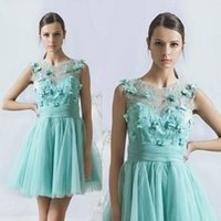Wholesale Cute Prom Dresses For Juniors - 3D Floral Appliques Dresses For Juniors Homecoming Lace Casual Short Dresses Cute A Line Prom Gowns