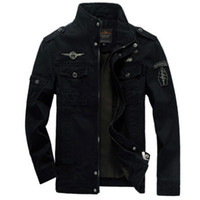 Wholesale plus black jacket - Men  Army jackets plus size 6XL Hot cost outerwear embroidery mens jacket for aeronautica militare