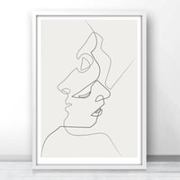 Wholesale Abstract Lines Modern Art Canvas - Fuee Shipping KISS - One Line Drawing Face Sketches Minimalist Art Canvas Poster Painting Black White Abstract Picture Print Modern Home Dec